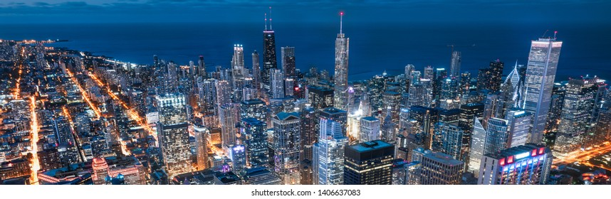 Chicago. Cityscape image of Chicago downtown during twilight blue hour. - Image