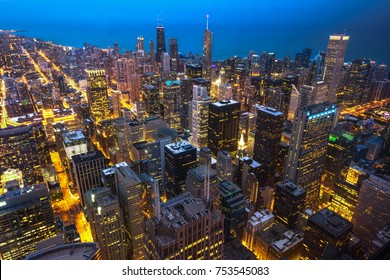 Chicago. Cityscape image of Chicago downtown during twilight blue hour. Panorama at night Chicago