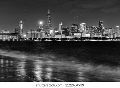 Chicago cityscape and Lake Michigan at night, BW