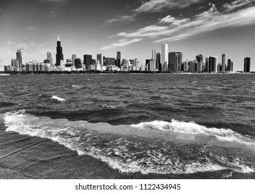Chicago cityscape and Lake Michigan, USA. BW
