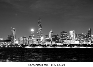 Chicago cityscape at night, BW