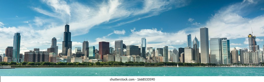 Chicago cityscape panoramic looking out from across Lake Michigan in Illinois USA