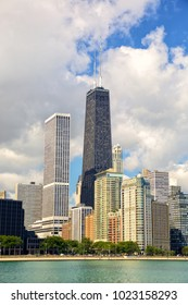 Chicago cityscape with urban skyscrapers, United States