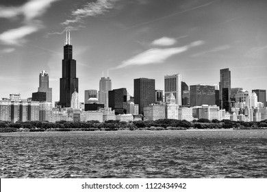 Chicago cityscape, USA. BW