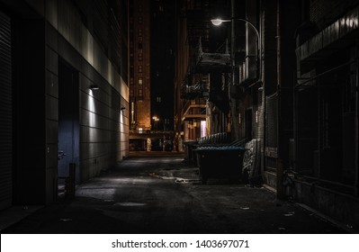 Chicago dark alley at night