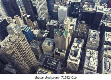 Chicago downtown. An aerial top view. A vintage style post-processing.