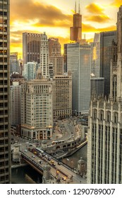 Chicago downtown buildings evening sunset skyline