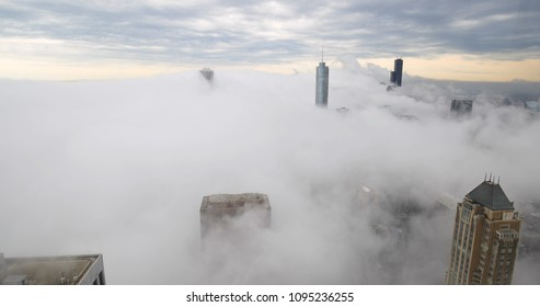 Chicago downtown buildings in thick fog