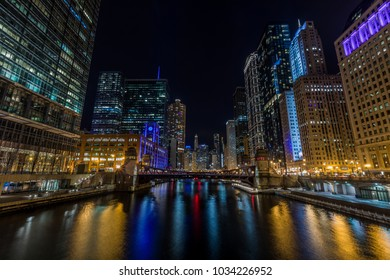 Chicago downtown  city street view by the river at night