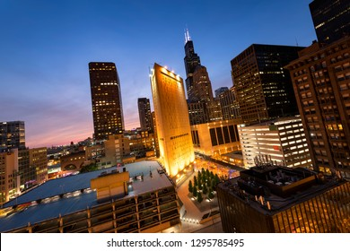 Chicago downtown. Cityscape image of Chicago downtown at sunset. - Image