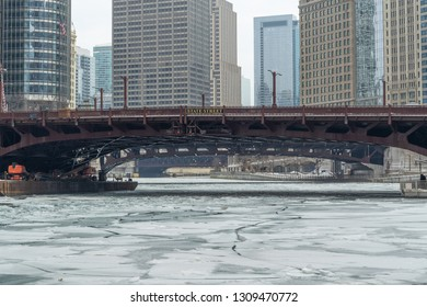 Chicago downtown icy frozen river in winter