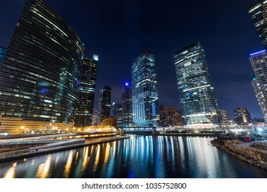 Chicago downtown  illuminated view by the river at night