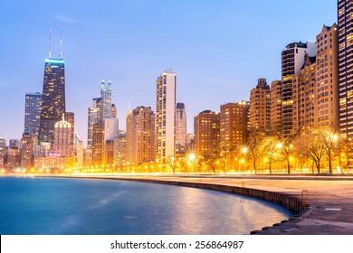 Chicago downtown and Lake Michigan at dusk