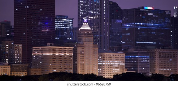 Chicago Downtown at Night. Chicago Architecture. East Side - Lake Side. Chicago, U.S.A. Old and Modern Chicago Buildings