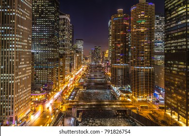 Chicago downtown night skyline river buildings