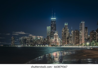 Chicago Downtown at night, United States