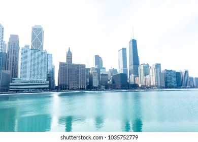 Chicago downtown panorama by the lake on a winter day