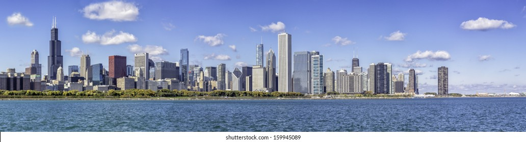Chicago downtown panorama in fall scenery