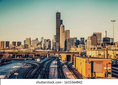 Chicago Downtown Panorama - Retro Style