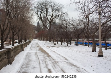 Chicago downtown park in winter