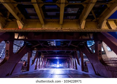 Chicago downtown  railroad bridge across the river at night