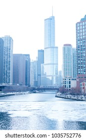 Chicago downtown residential district by the river on a winter day