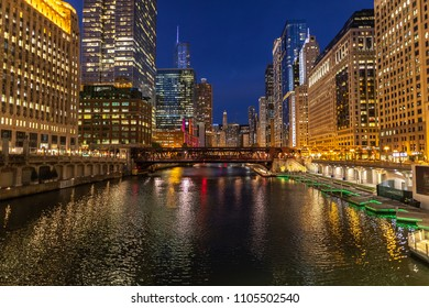 Chicago downtown river skyline buildings evening
