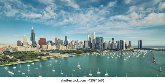 Chicago Downtown Skyline aerial view with boats , vintage colors