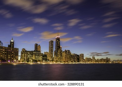 Chicago Downtown skyline at dusk - long exposure