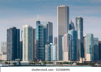 Chicago downtown skyline.  Navy Pier viewpoint.
