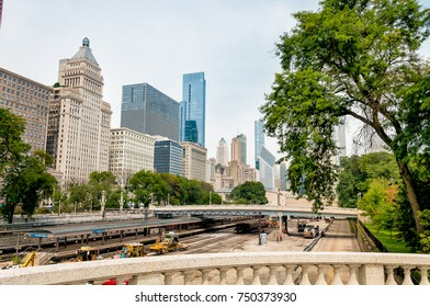 Chicago Downtown skyline with railroad yard under bridge, Illinois, USA