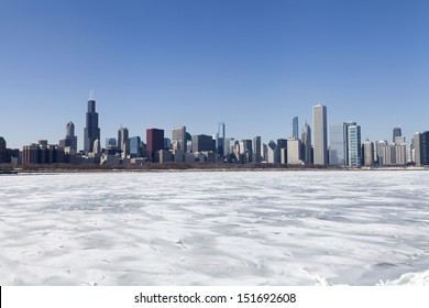 Chicago downtown skyline in the winter with clear sky