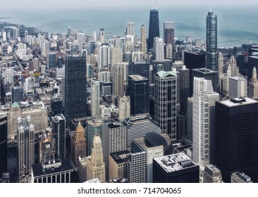 Chicago downtown. Skyscrapers. An aerial top view.