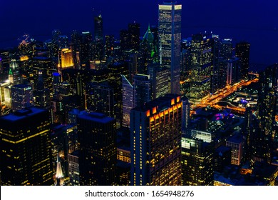 Chicago downtown skyscrapers at night. View from Willis Tower