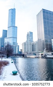 Chicago downtown street scene by the river on a winter day