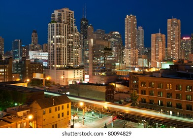 Chicago downtown at twilight.