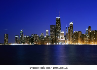 Chicago at dusk.  Partial view of the Chicago skyline after sunset.