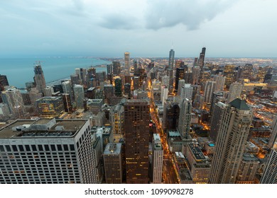 Chicago evening skyline buildings