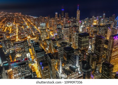Chicago evening skyline buildings sunset view