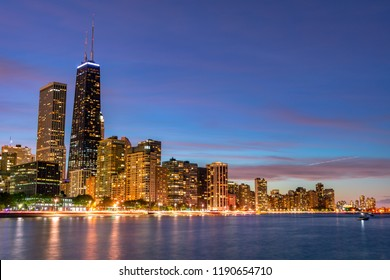 Chicago Evening Skyline with Lake Shore Drive