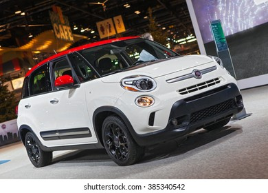 CHICAGO - February 11: A Fiat 500L on display at the Chicago Auto Show media preview February 11, 2016 in Chicago, Illinois.