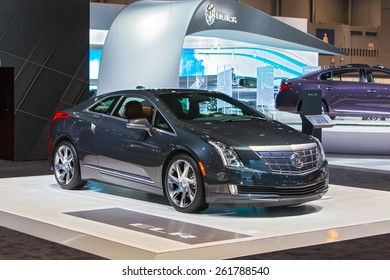 Chicago - February 12: A Cadillac ELR on display February 12th, 2015 at the 2015 Chicago Auto Show in Chicago, Illinois.