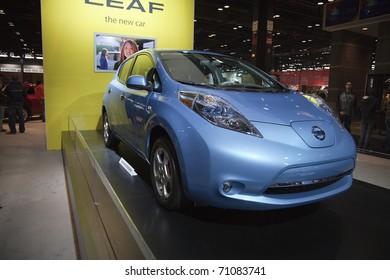 CHICAGO - FEBRUARY 12: Nissan Leaf presentation at the Annual Chicago Auto Show February 12 2011 in Chicago, IL.