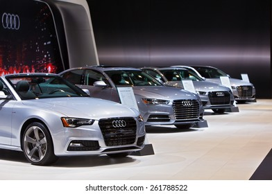Chicago - February 12: A row of Audis on display February 12th, 2015 at the 2015 Chicago Auto Show in Chicago, Illinois.