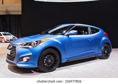 Chicago - February 13: A Hyundai Veloster on display February 13th, 2015 at the 2015 Chicago Auto Show in Chicago, Illinois.