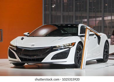 CHICAGO - February 8: The 2018 Acura NSX on display at the Chicago Auto Show media preview February 8, 2018 in Chicago, Illinois.