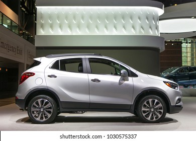 CHICAGO - February 8: The 2018 Buick Encore SUV  on display at the Chicago Auto Show media preview February 8, 2018 in Chicago, Illinois.
