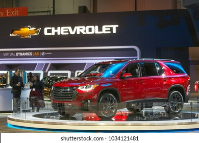 CHICAGO - February 8: The 2018 Chevy Traverse on display at the Chicago Auto Show media preview February 8, 2018 in Chicago, Illinois.