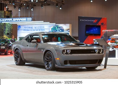 CHICAGO - February 8: The 2018 Dodge SRT Demon on display at the Chicago Auto Show media preview February 8, 2018 in Chicago, Illinois.
