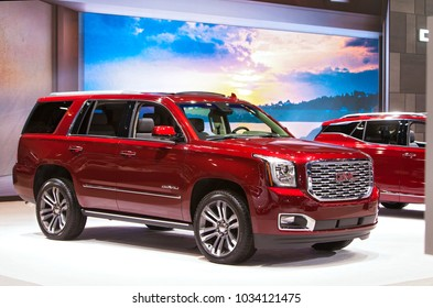 CHICAGO - February 8: The 2018 GMC Yukon Denali on display at the Chicago Auto Show media preview February 8, 2018 in Chicago, Illinois.